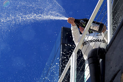 Second place Valtteri Bottas, Mercedes AMG F1 celebrates on the podium with the champagne