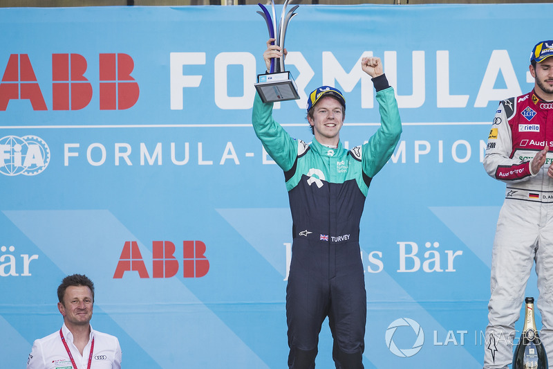 Oliver Turvey, NIO Formula E Team, celebrates on the podium