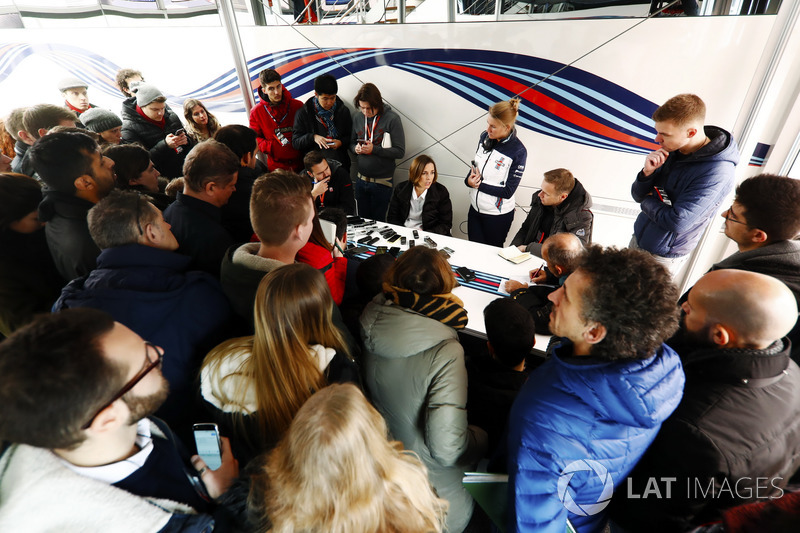 Claire Williams, Deputy team principal, holds a press conference