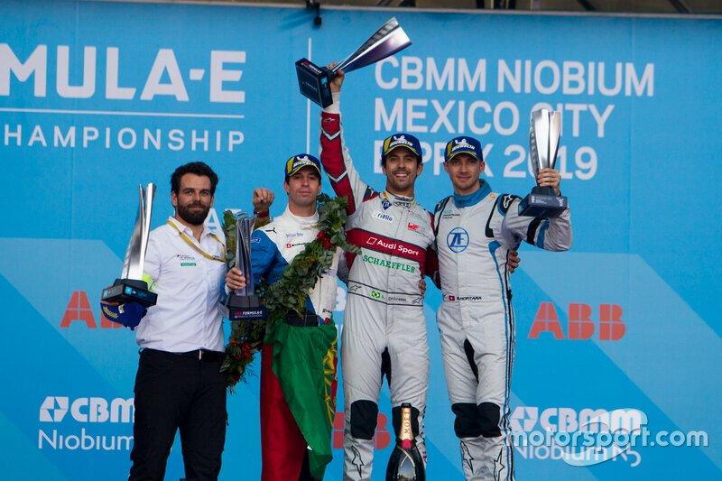 Podio: il vincitore della gara Lucas Di Grassi, Audi Sport ABT Schaeffler, il secondo classificato Antonio Felix da Costa, BMW I Andretti Motorsports e il terzo classificato, Edoardo Mortara Venturi Formula E