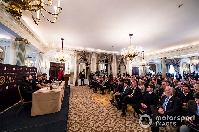 Romain Grosjean, Haas F1 Team, Kevin Magnussen, Haas F1 Team, Guenther Steiner, Team Principal, Haas F1, William Storey, CEO Rich Energy and Presenter Nicki Shields in Press Conference