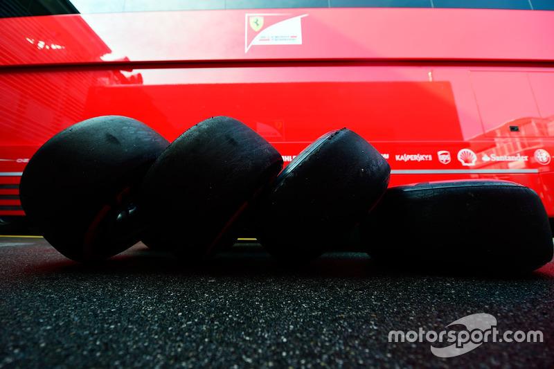 Pirelli tyres used by the Ferrari team
