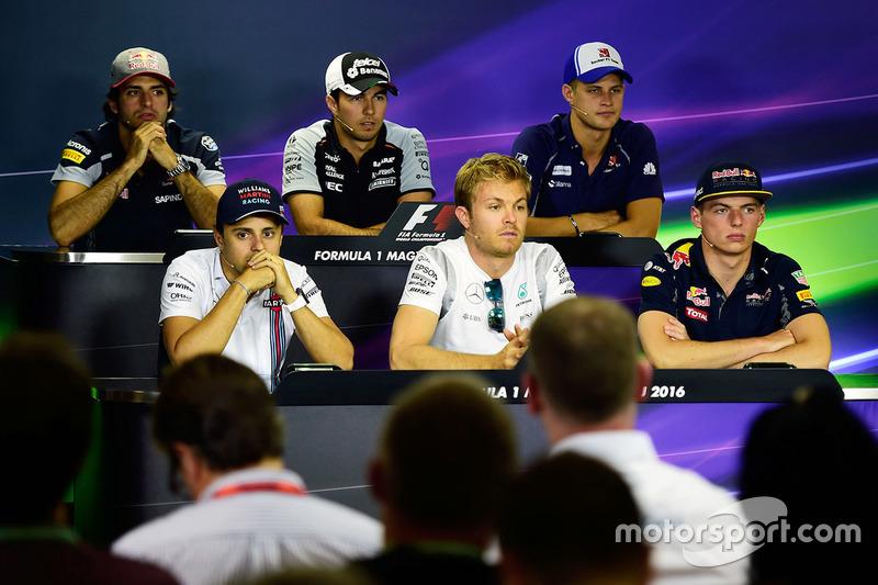 Press Conference: Carlos Sainz Jr., Scuderia Toro Rosso, Sergio Perez, Sahara Force India F1, Marcus Ericsson, Sauber F1 Team, Felipe Massa, Williams, Nico Rosberg, Mercedes AMG F1, Max Verstappen, Red Bull Racing