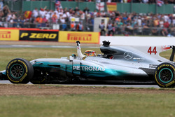 Race winner Lewis Hamilton, Mercedes-Benz F1 W08  celebrates at the end of the race