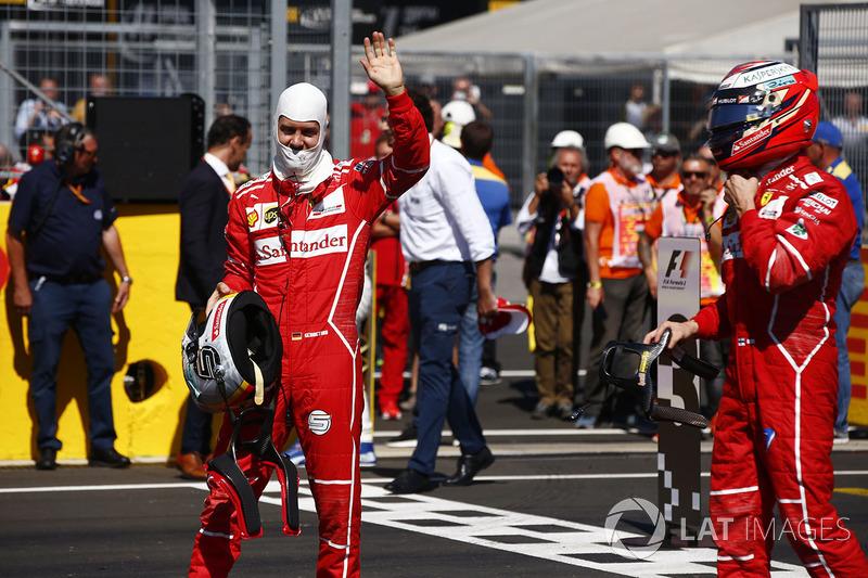 Pole: Sebastian Vettel, Ferrari, 2. Kimi Raikkonen, Ferrari