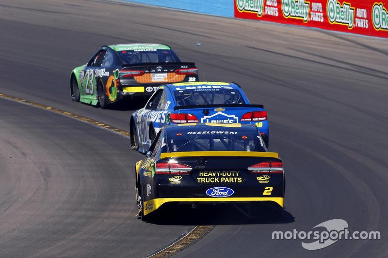 Brad Keselowski, Team Penske Ford; Jimmie Johnson, Hendrick Motorsports Chevrolet and Gray Gaulding,