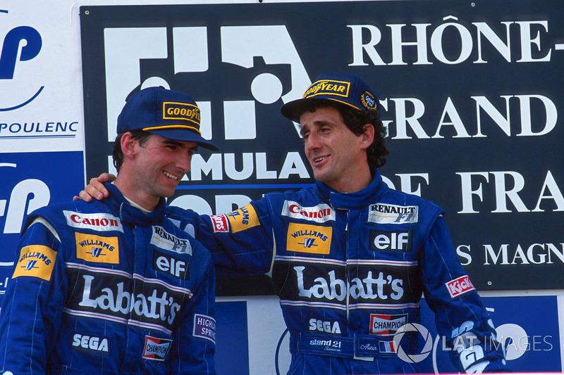 Podium: race winner Alain Prost, second place Damon Hill