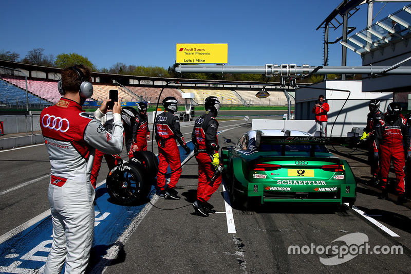 Mike Rockenfeller, Audi Sport Team Phoenix, Audi RS 5 DTM and René Rast, Audi Sport Team Rosberg is filminng