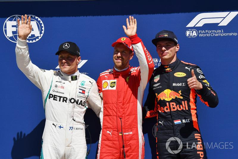 Valtteri Bottas, Mercedes-AMG F1, Sebastian Vettel, Ferrari and Max Verstappen, Red Bull Racing celebrate in parc ferme