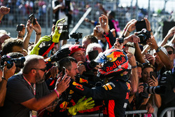 Max Verstappen, Red Bull, celebrates with his team in Parc Ferme