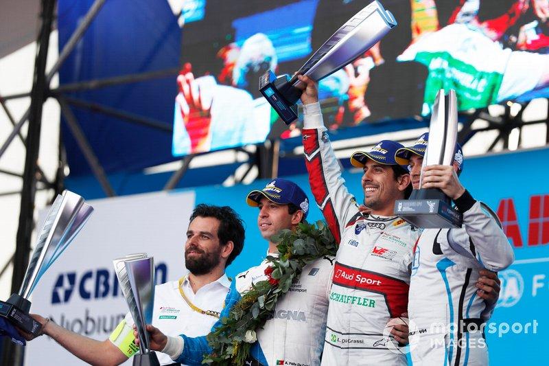 Antonio Felix da Costa, BMW I Andretti Motorsports, Lucas Di Grassi, Audi Sport ABT Schaeffler, Edoardo Mortara, Venturi Formula E, celebra en el podio.