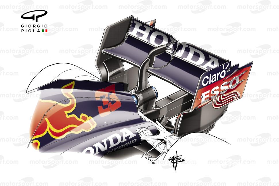 Alerón trasero del Red Bull Racing RB16B.