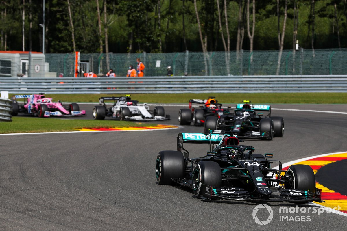 Lewis Hamilton, Mercedes F1 W11, Valtteri Bottas, Mercedes F1 W11, Max Verstappen, Red Bull Racing RB16, Pierre Gasly, AlphaTauri AT01, and Sergio Perez, Racing Point RP20
