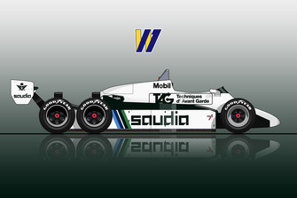 The 6-wheel Williams FW08D