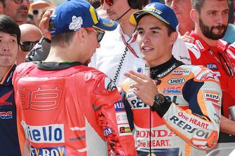 Pole sitter Marc Marquez, Repsol Honda Team, third place Jorge Lorenzo, Ducati Team