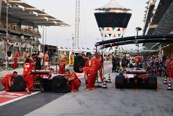 Kimi Raikkonen, Ferrari SF70H and Sebastian Vettel, Ferrari SF70H