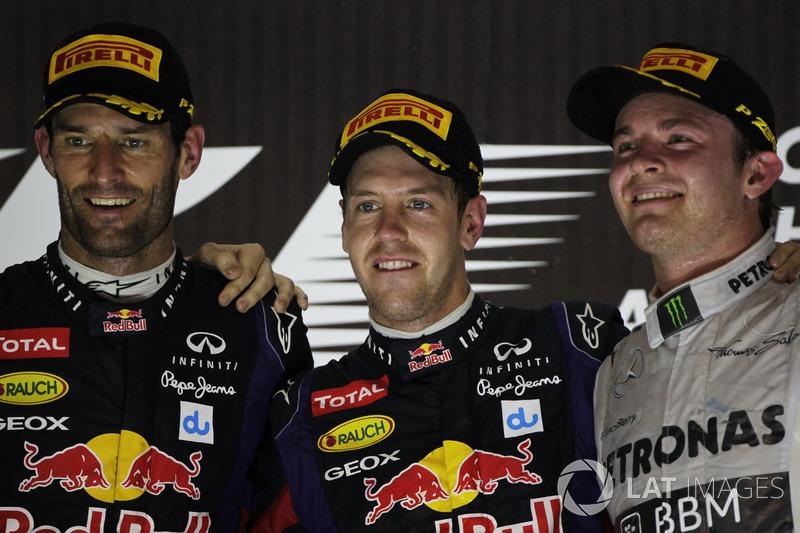 2013: 1. Sebastian Vettel, 2. Mark Webber, 3. Nico Rosberg