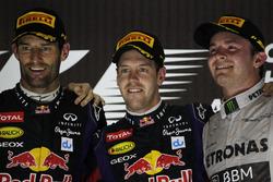 Podium: second place Mark Webber, Red Bull Racing, Race winner Sebastian Vettel, Red Bull Racing, third place Nico Rosberg, Mercedes AMG
