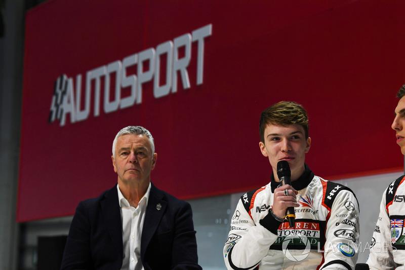 Derek Warwick, with Dan Ticktum and Harrison Scott on the Autosport Stage