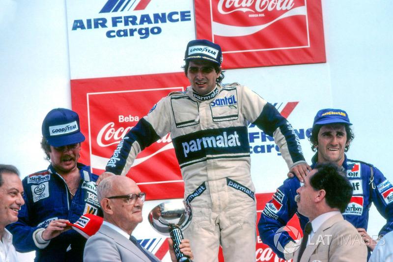 1982. Жакарепагуа. Подіум: 1. Ален Прост, Renault. 2. Джон Вотсон, McLaren Ford Cosworth. 3. Найджел Менселл, Lotus Ford Cosworth