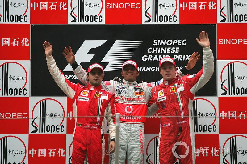 2008: 1. Lewis Hamilton, 2. Felipe Massa, 3. Kimi Räikkönen