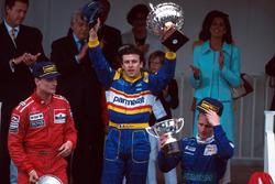 Podium: 1. Olivier Panis, Ligier; 2. David Coulthard, McLaren; 3. Johnny Herbert, Sauber