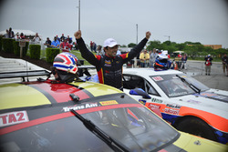 Rafael Matos celebrates his TA2 victory in Detroit