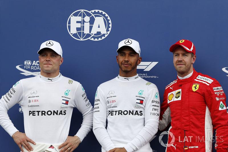 Valtteri Bottas, Mercedes-AMG F1, Lewis Hamilton, Mercedes-AMG F1 and Sebastian Vettel, Ferrari in parc ferme