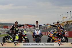 Motorrad-Weltmeister 2010: Toni Elias (Moto2), Jorge Lorenzo, (MotoGP), Marc Marquez (125er)