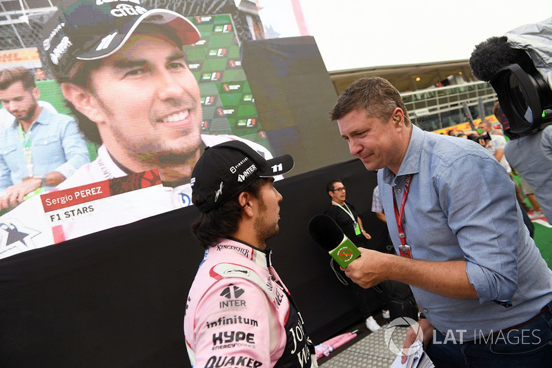 Sergio Perez, Sahara Force India and David Croft, Sky TV Commentator