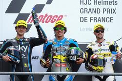 Podium: Le deuxième Francesco Bagnaia, Sky Racing Team VR46, le vainqueur Franco Morbidelli, Marc VDS, et le troisième Thomas Luthi, CarXpert Interwetten