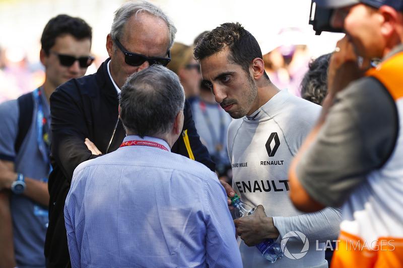 FIA President Jean Todt talks to Sébastien Buemi, Renault e.Dams