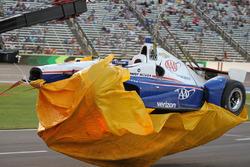 Crashed car of Helio Castroneves, Team Penske Chevrolet