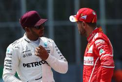 Polesitter Lewis Hamilton, Mercedes AMG F1; 2. Sebastian Vettel, Ferrari