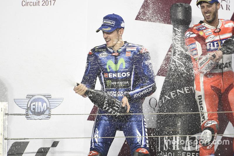 Podio: Maverick Viñales, Yamaha Factory Racing, Andrea Dovizioso, Ducati Team
