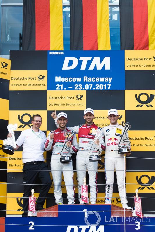 Podio: Ganador de la carrera René Rast, Audi Sport Team Rosberg, Audi RS 5 DTM, segundo lugar Mike Rockenfeller, Audi Sport Team Phoenix, Audi RS 5 DTM, tercer lugar Marco Wittmann, BMW Team RMG, BMW M4 DTM