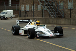 Ayrton Senna, returns to the pits after testing the Williams FW08C for the first time