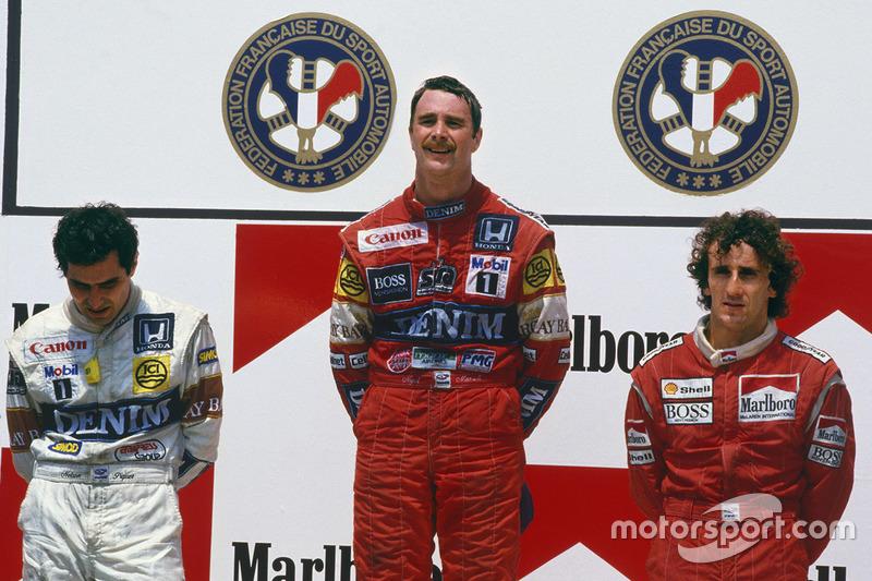 Podio: ganador de la carrera Nigel Mansell, Williams Honda, segundo lugar Nelson Piquet, Williams Honda, tercer lugar Alain Prost, McLaren TAG Porsche