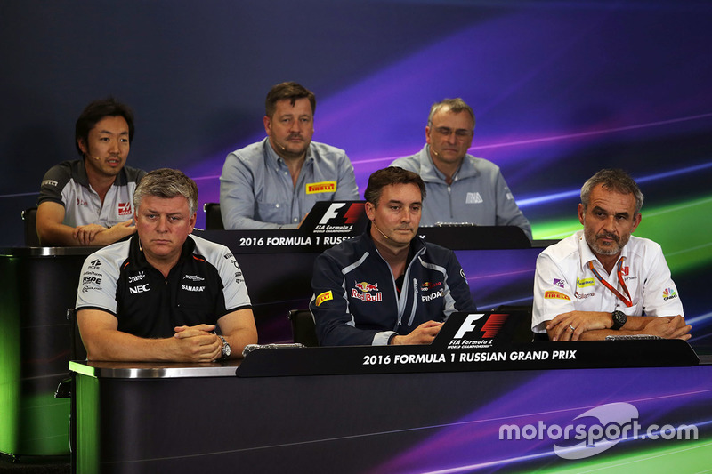 Press Conference: Ayao Komatsu, Haas F1 Team Race Engineer, Paul Hembery, Pirelli Motorsport Director, John McQuilliam, Manor Racing Technical Director, Otmar Szafnauer, Sahara Force India F1 Chief Operating Officer, James Key, Scuderia Toro Rosso Technical Director, Beat Zehnder, Sauber F1 Team Manager