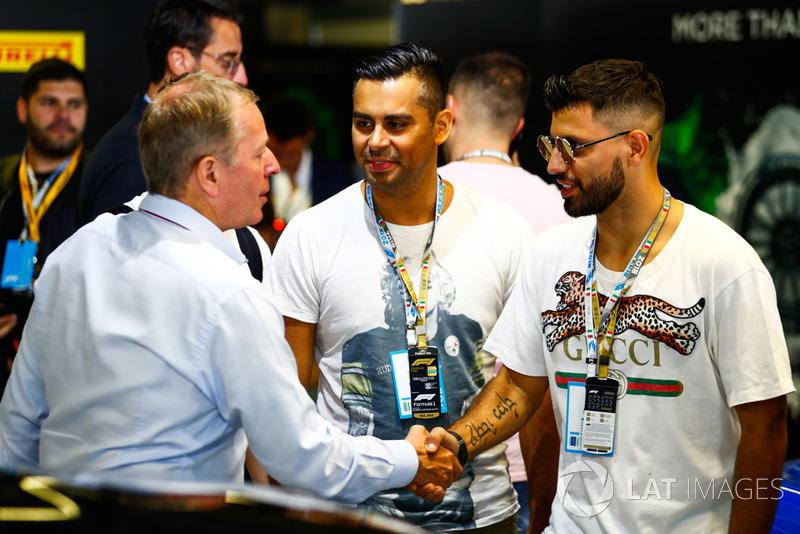 Sergio Aguero, pesepakbola, bertemu dengan Martin Brundle, presenter Sky F1