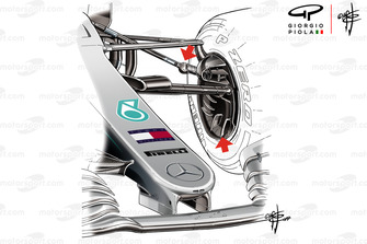 Mercedes AMG F1 W10 front suspension
