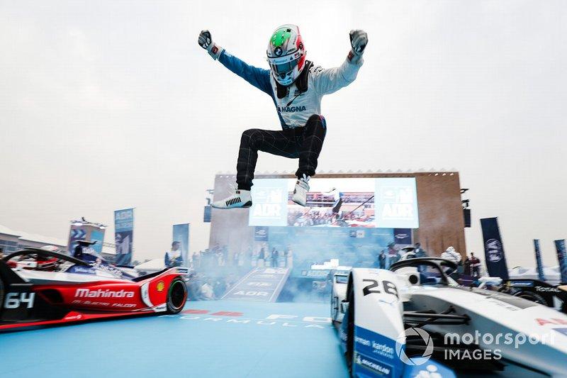 Antonio Felix da Costa, BMW I Andretti Motorsports leaps off his car in celebration of his victory