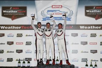 #911 Porsche Team North America Porsche 911 RSR, GTLM: Patrick Pilet, Nick Tandy, Frederic Makowiecki, podium