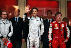 Podium: , race winner Jenson Button, Brawn Grand Prix, second place Rubens Barrichello, Brawn Grand Prix, third place Kimi Raikkonen, Ferrari