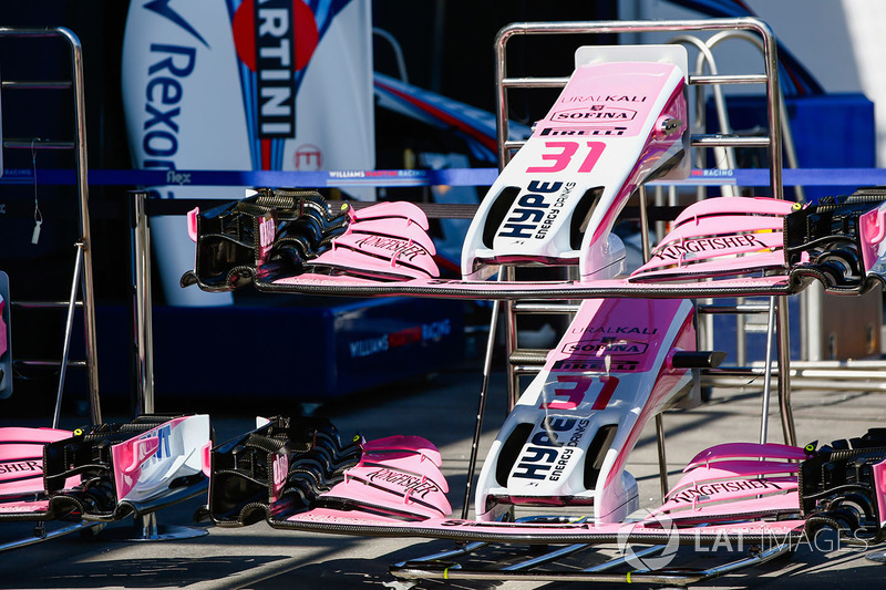 Ali anteriori di Sergio Perez, Force India ed Esteban Ocon, Force India