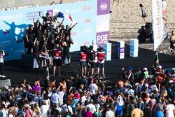 Jean-Eric Vergne, Techeetah celebrates on the podium