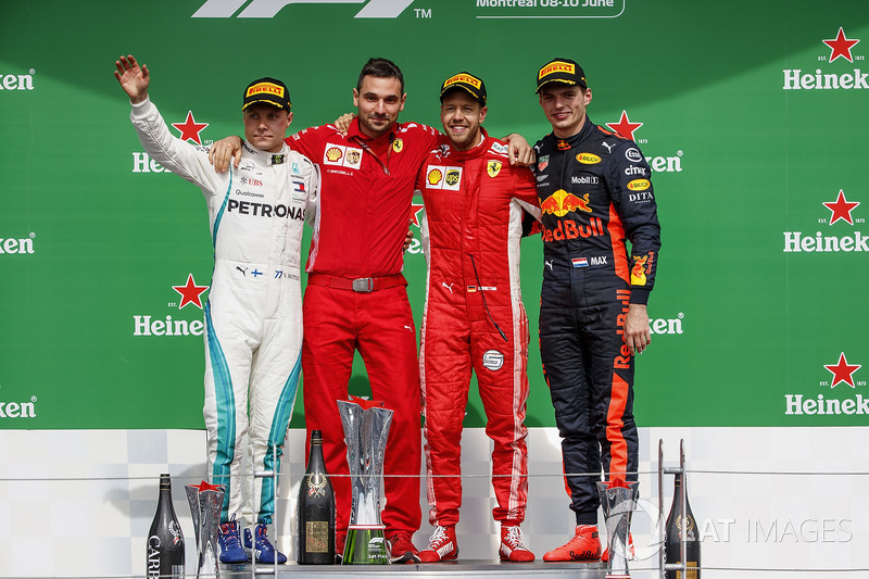 Valtteri Bottas, Mercedes AMG F1, 2° classificato, Nicola Bariselli, ingegnere di pista, Ferrari, Sebastian Vettel, Ferrari, 1° classificato, Max Verstappen, Red Bull Racing, 3° classificato