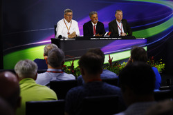 Ross Brawn, Managing Director of Motorsports, FOM, Chase Carey, Chairman, Formula One and Sean Bratches, Managing Director of Commercial Operations, Formula One Group
