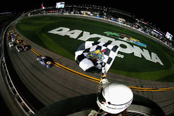 Chase Elliott, Hendrick Motorsports Chevrolet, takes the checkered flag to win the Monster Energy NASCAR Cup Series Can-Am Duel 1