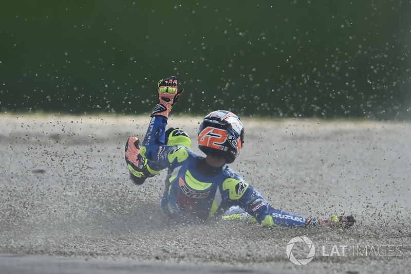 Alex Rins, Team Suzuki MotoGP, terjatuh